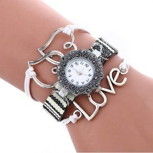 Womens Quartz Rhinestone Love Leather Bangle Watch